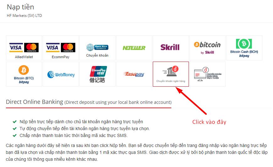Nhấn vào Chuyển khoản ngân hàng